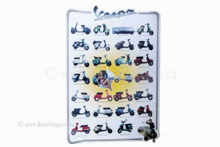 Poster 49x34cm model overview for Classic Vespa Accessories and Parts