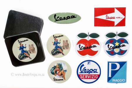 Sticker set of 8 12cmx12cm for Classic Vespa Accessories and Parts