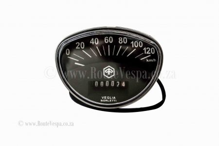 Speedometer 120 km/h with logo for Classic Vespa Chassis and Parts